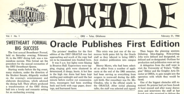 Oracle: ORU Student Newspaper